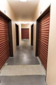 Storage warehouse hallway with doors